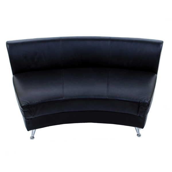 Smooth Leather Curved Banquette