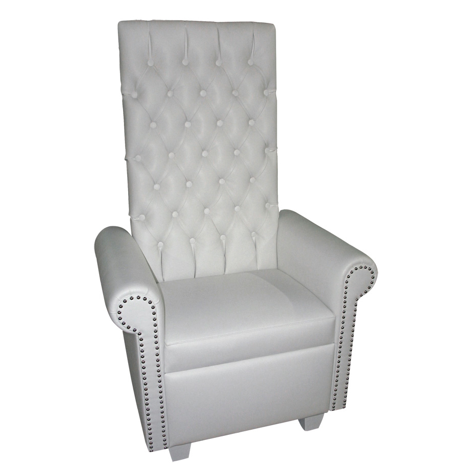 High Back White Leather Throne Chair