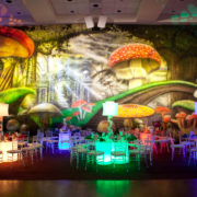 Alice in Wonderland backdrop and dinner tables 01