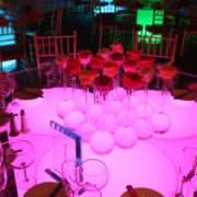 ball bud glass vases on Illuminated Cylinder Dinner Table
