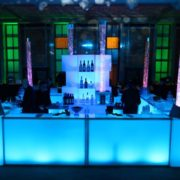 Blue Illuminated Bar with Water Bubble Columns