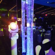 blue square water bubble column and projector
