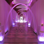 Illuminated Acrylic display and spandex arch entryway