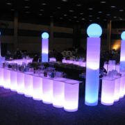 RGB Illuminated Cylinder Bar set-up with columns and glow globes