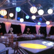 White Dance Floor with sports Gobo and Ceiling Treatment