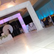 white square archway and dance floor