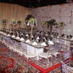Limestone Communal Tables on Persian Rugs
